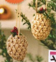 "Crochet ""pine cone"" Christmas tree decorations"