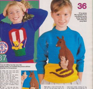 2 fun children's kangaroo and teddy pocket picture jumpers