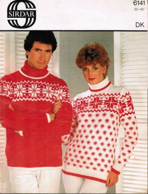 Polo neck snowflake pattern jumpers