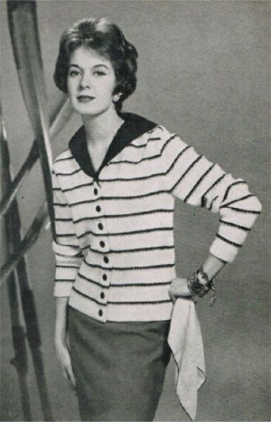 Sailor style collar striped cardigan from the 50's