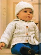 Baby boy or girl cable cardigan & hat