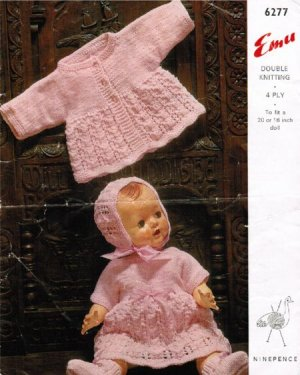 Sweet Baby Doll's dress and cardigan outfit in 4ply