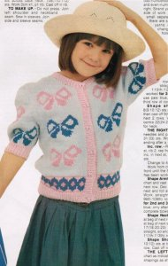 Girl's trendy bow motif cardigan
