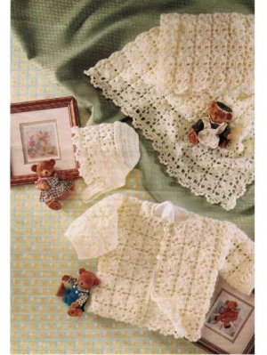 Crochet 4 ply baby shawl hat & jacket