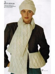 Plaited cable accessories set - scarf bag & hat