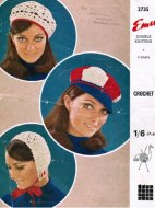 3 crochet hats - beret & baker boy from the 70's