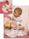 Contrast stripe baby shawl & layette in Snuggly quicknit