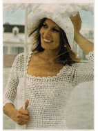 Scoop neck crochet summer top and hat