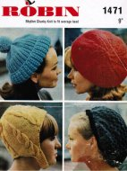 3 chunky beret style hats from the 60's