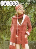 Belted cardigan hat & scarf in DK