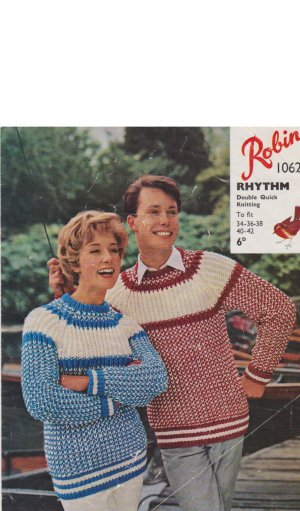 Chunky 2 colour fisherman's rib his n hers raglan sweaters