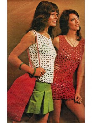 Skimpy crochet summer top or beach dress & bag