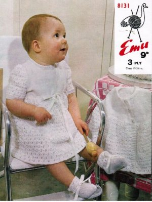 Very sweet baby dress, matinee coat and boots