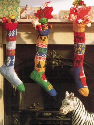 3 fair isle full size Christmas stockings