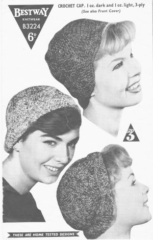 Dinky crochet hat and knitted angora cap from the 50's
