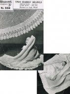 2 very traditional baby knitted shawls round or square