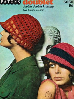 2 crochet cloche flapper style sun hats