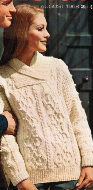 His & hers aran jumper with shawl collar up to 45""