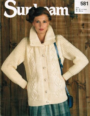 Aran jacket with high collar and side pockets