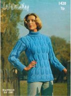 Smart 1970's chunky cable polo neck jumper