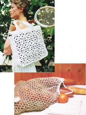 2 bags one knitted string & one crochet holdall in thick cotton