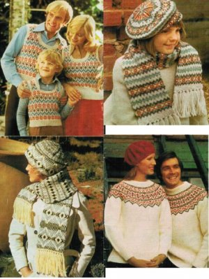 Fair isle jumpers, tank top hats & scarves for the family