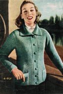 Classic 50's jacket style cardigan in 4 ply