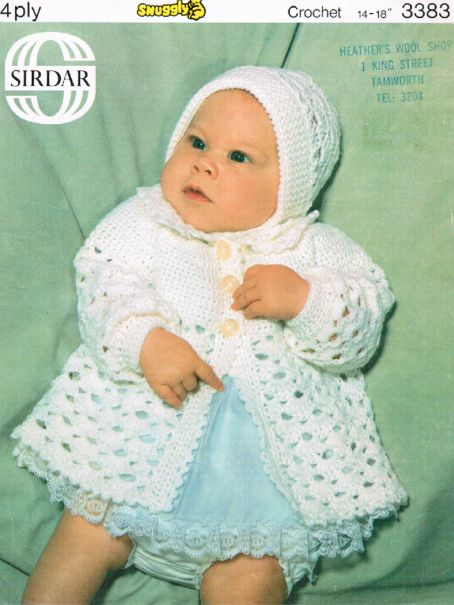 Cute Crochet 4 Ply Baby Matinee Coat Hat 160 1 75 Patterns