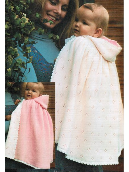 Hand Or Machine Knit Hooded Baby Cape Or Cloak 623 175