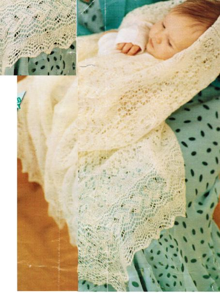 Christening Shawl Knitting Pattern Free : Christening shawls & robes : Your Cart, Vintage knitting patterns to down...