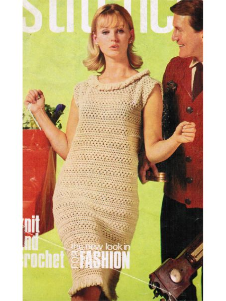 From 1965 A Simple Crochet Dress With Fringed Hem 672 175