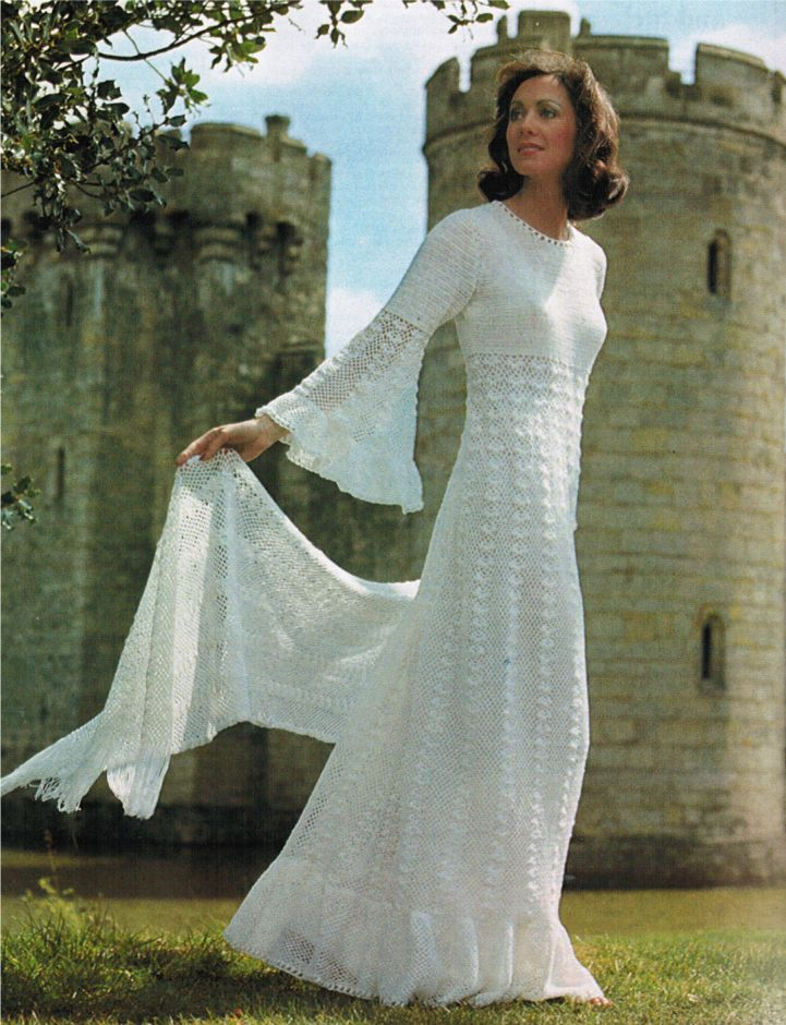 Sumptuous knitted beadspread cushions 743 for Crochet lace wedding dress pattern