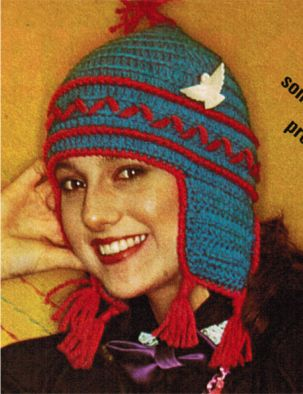 Crochet earflap tasselled hat - Click Image to Close